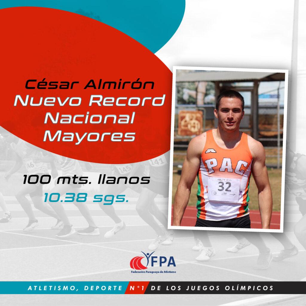 El paraguayo César Almirón, 10.38 en los 100 metros 8